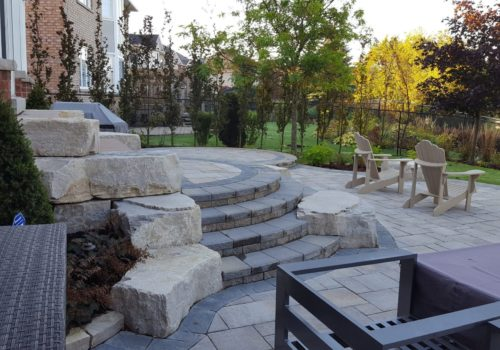 Natural Stone Backyard Patio | Suburban Garden Design and Construction | Landscape Design GTA by Terra-Opus