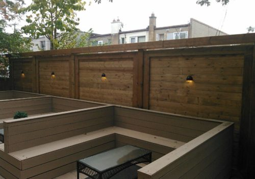 Lit Privacy Screen Backyard Area | Suburban Landscape Design GTA | Landscape Design and Construction GTA | Landscape Design and Construction by Terra-Opus