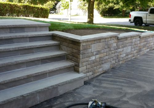 Slate Steps and Lafitt Wall | Suburban Landscape Design GTA | Landscape Design and Construction GTA | Landscape Design and Construction by Terra-Opus