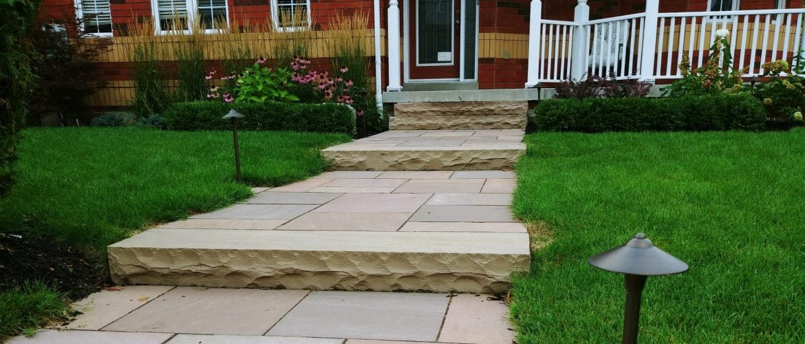 Squarecut Flagstone Walkway, Landscape Lighting